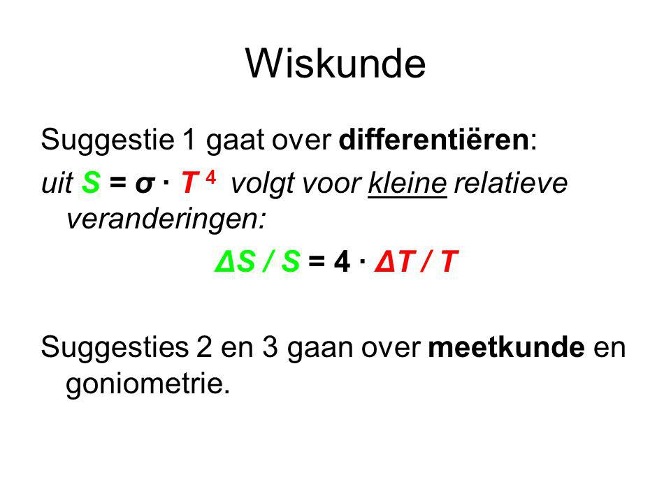 Wiskunde Suggestie 1 gaat over differentiëren: