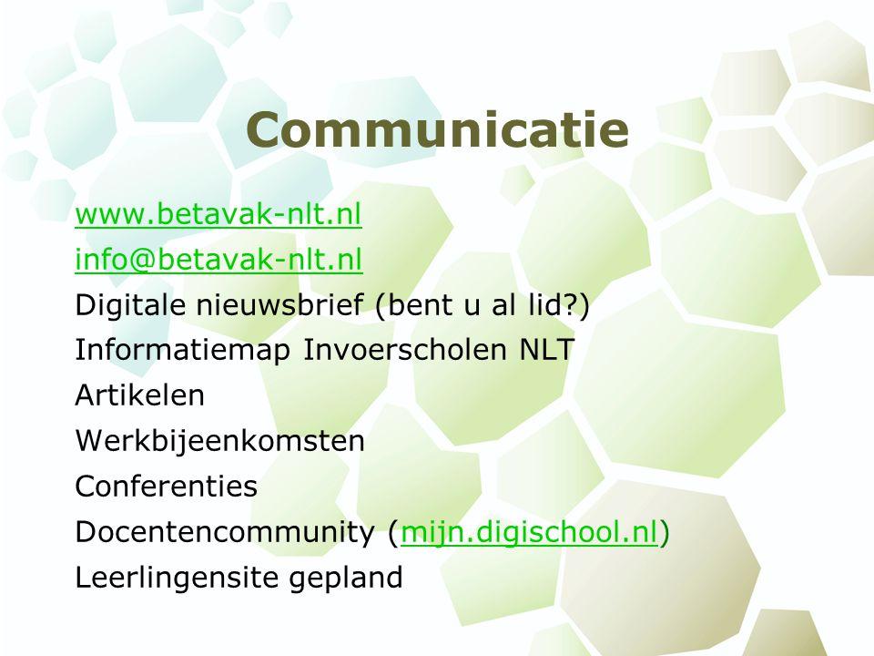 Communicatie www.betavak-nlt.nl info@betavak-nlt.nl