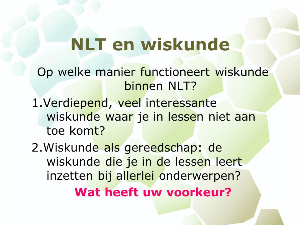 Op welke manier functioneert wiskunde binnen NLT