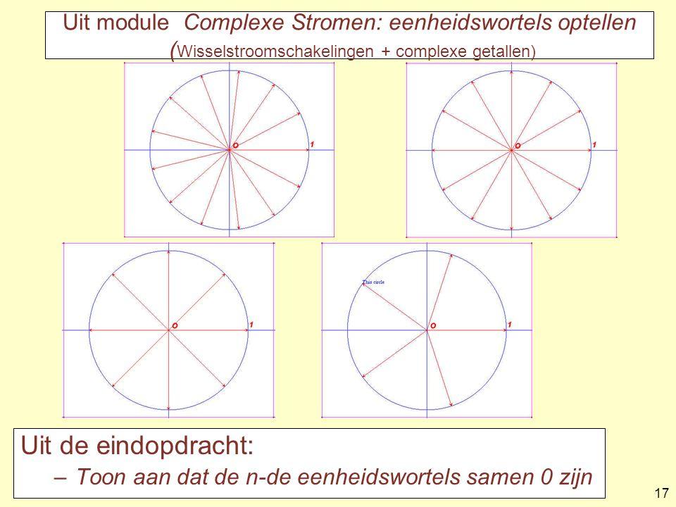Uit module Complexe Stromen: eenheidswortels optellen (Wisselstroomschakelingen + complexe getallen)