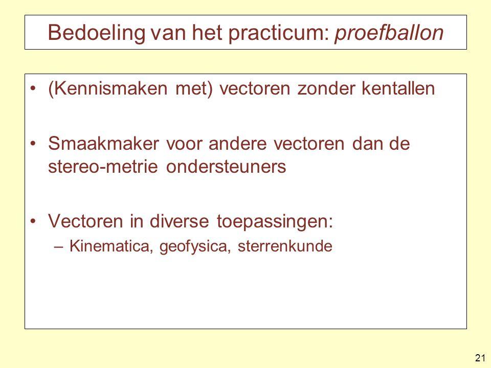 Bedoeling van het practicum: proefballon