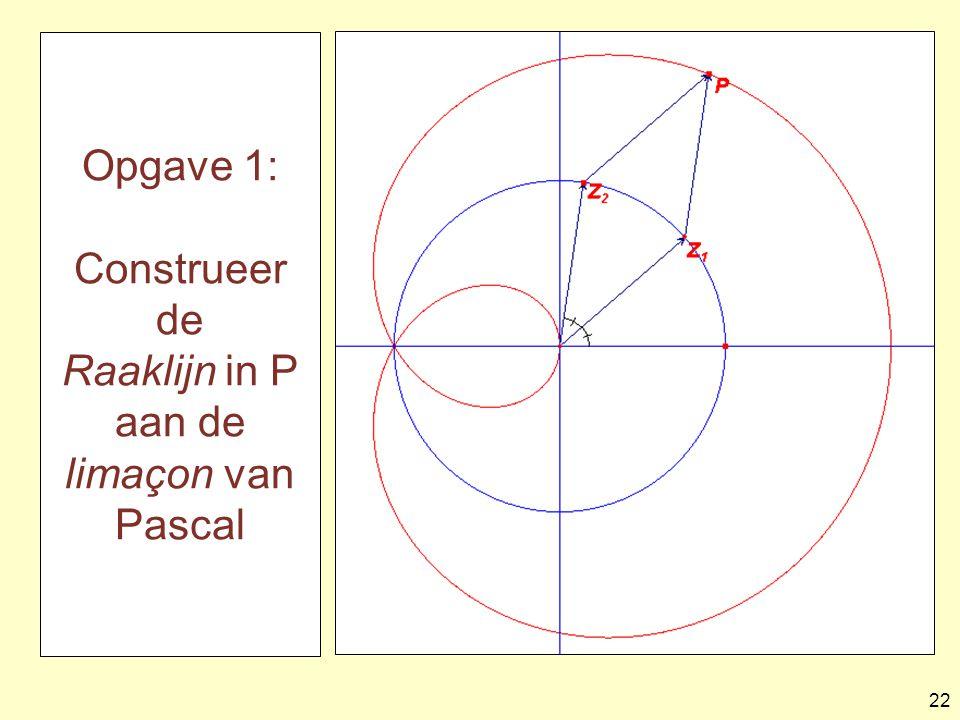 Opgave 1: Construeer de Raaklijn in P aan de limaçon van Pascal