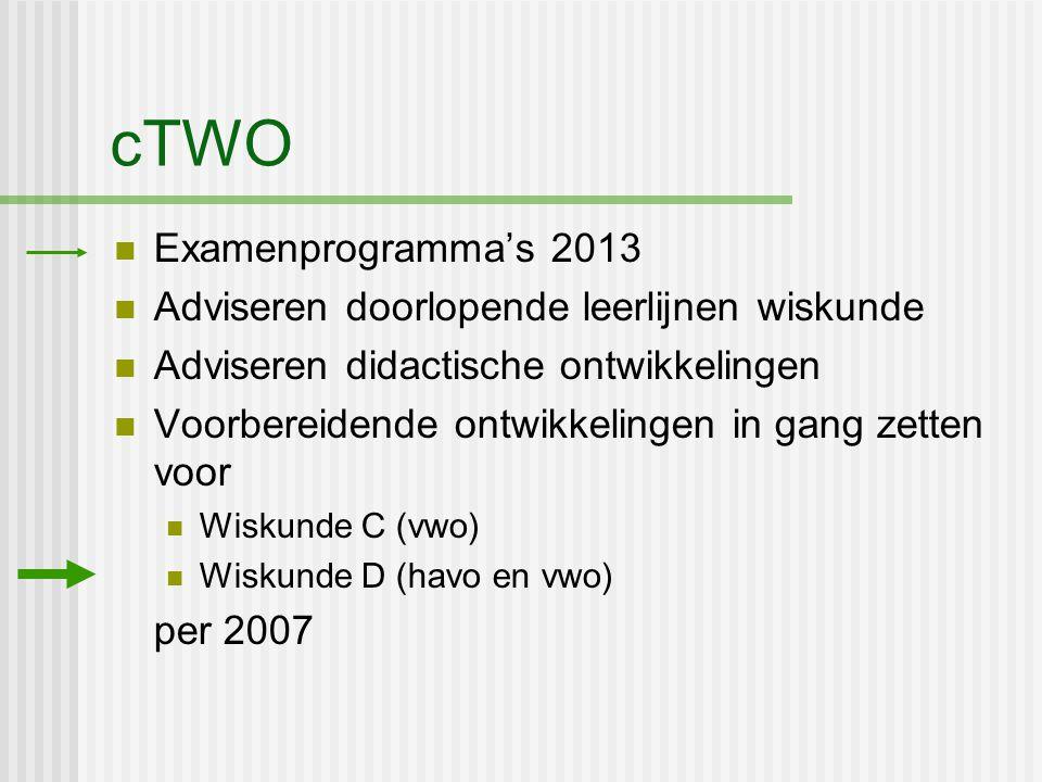 cTWO Examenprogramma's 2013 Adviseren doorlopende leerlijnen wiskunde