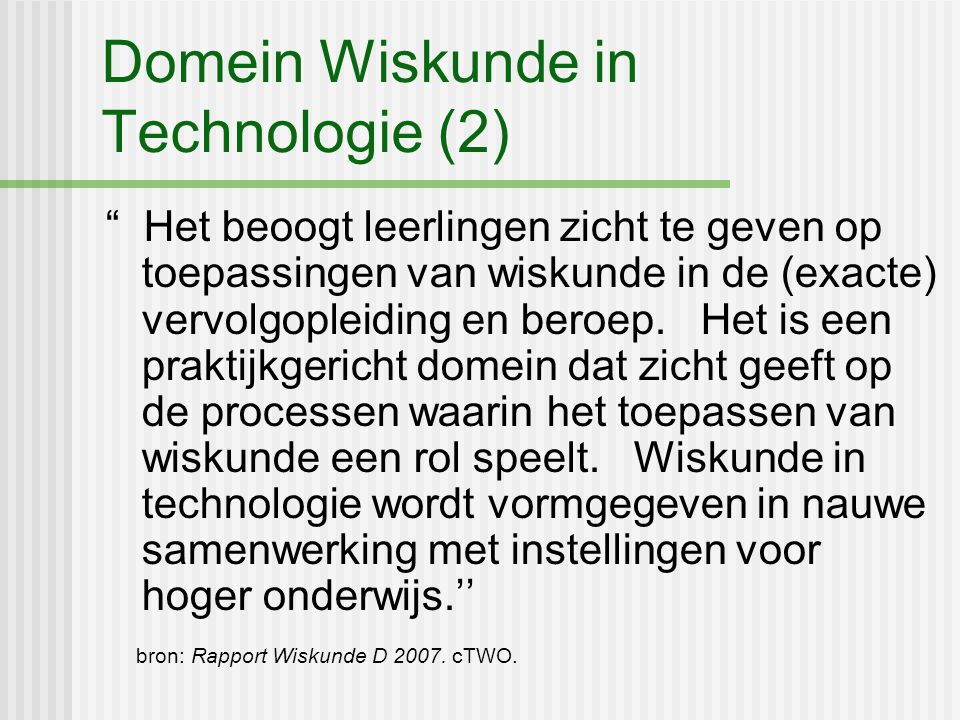 Domein Wiskunde in Technologie (2)