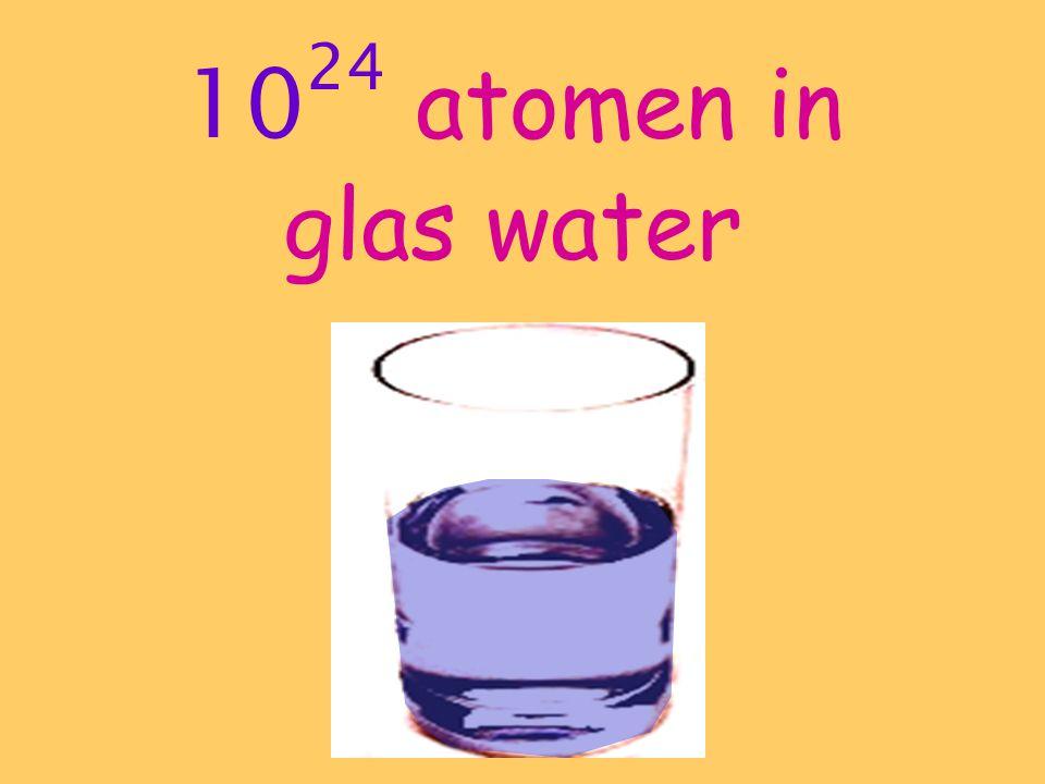 1024 atomen in glas water