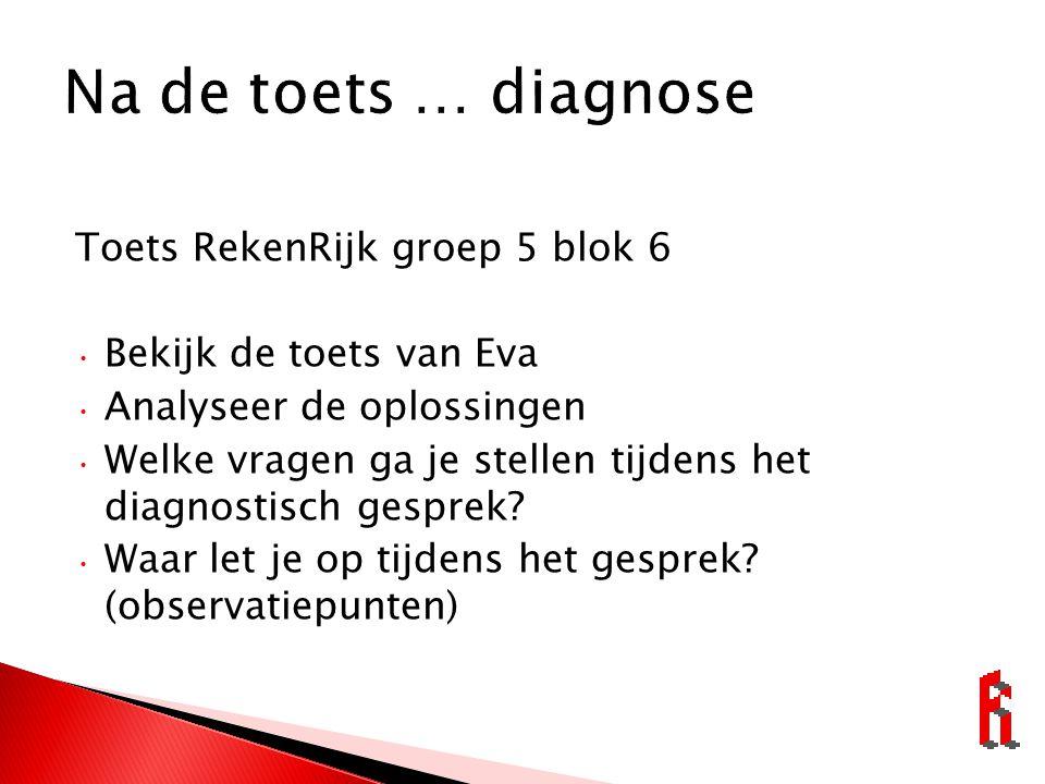 Na de toets … diagnose Toets RekenRijk groep 5 blok 6