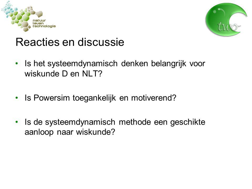 Reacties en discussie Is het systeemdynamisch denken belangrijk voor wiskunde D en NLT Is Powersim toegankelijk en motiverend
