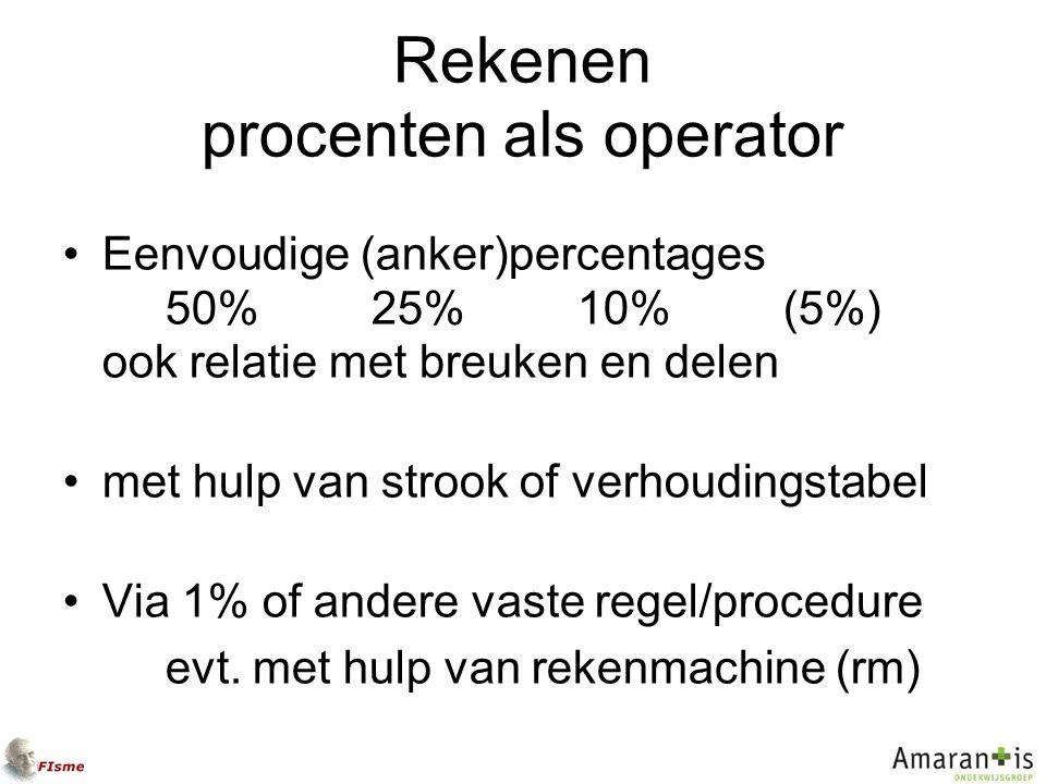 Rekenen procenten als operator