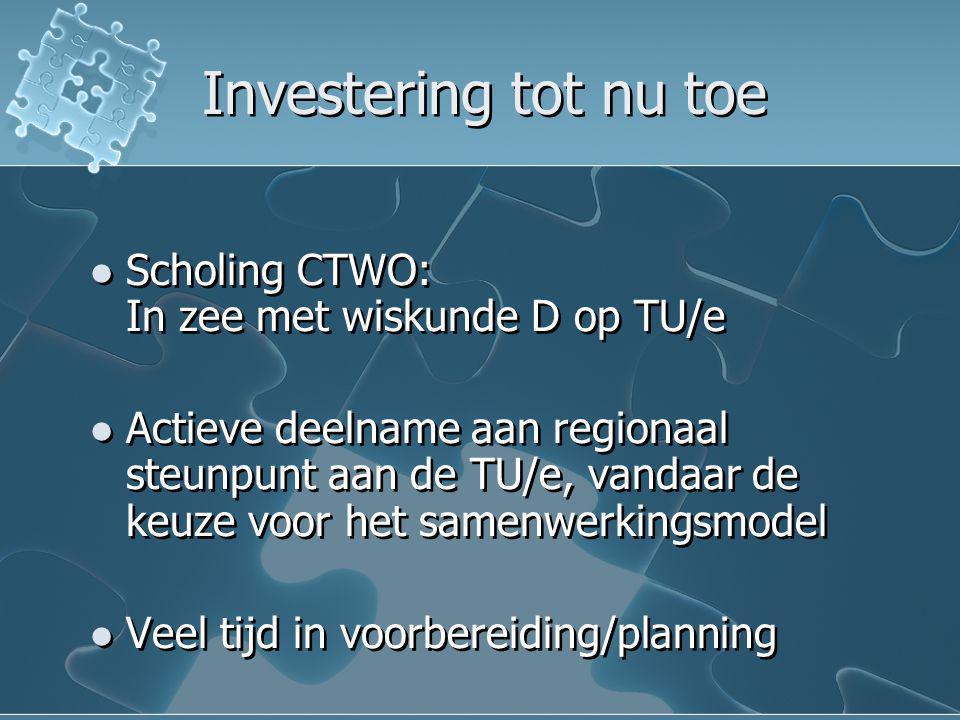Investering tot nu toe Scholing CTWO: In zee met wiskunde D op TU/e