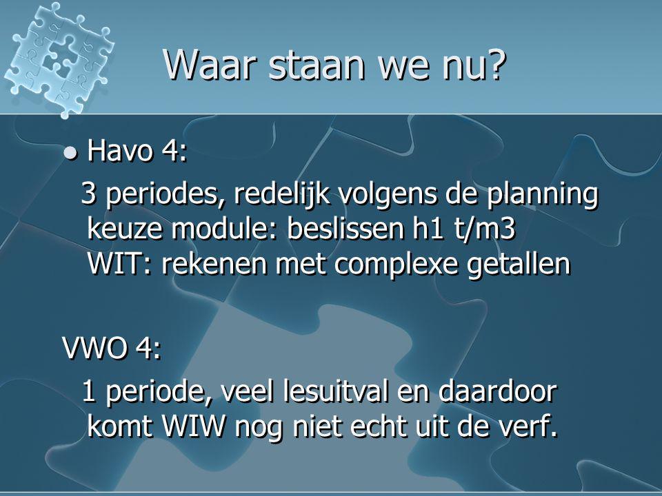Waar staan we nu Havo 4: 3 periodes, redelijk volgens de planning keuze module: beslissen h1 t/m3 WIT: rekenen met complexe getallen.