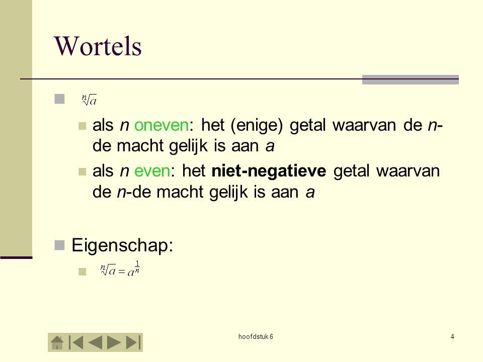 Wortels als n oneven: het (enige) getal waarvan de n-de macht gelijk is aan a.