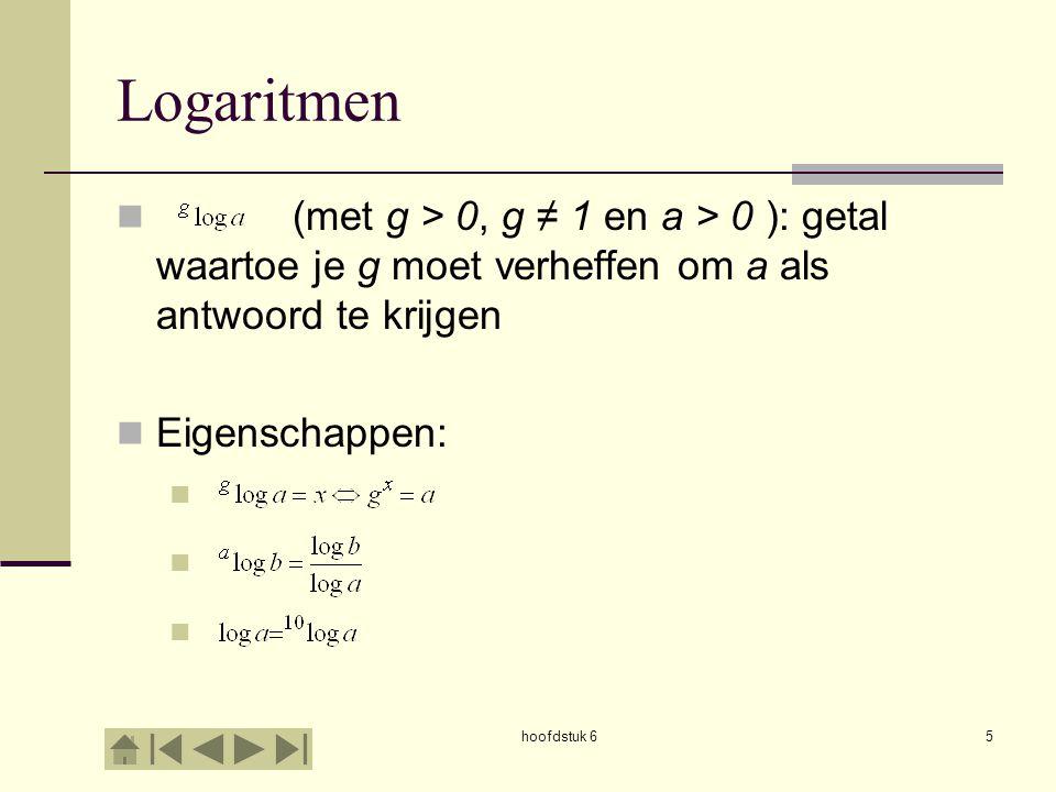 Logaritmen (met g > 0, g ≠ 1 en a > 0 ): getal waartoe je g moet verheffen om a als antwoord te krijgen.