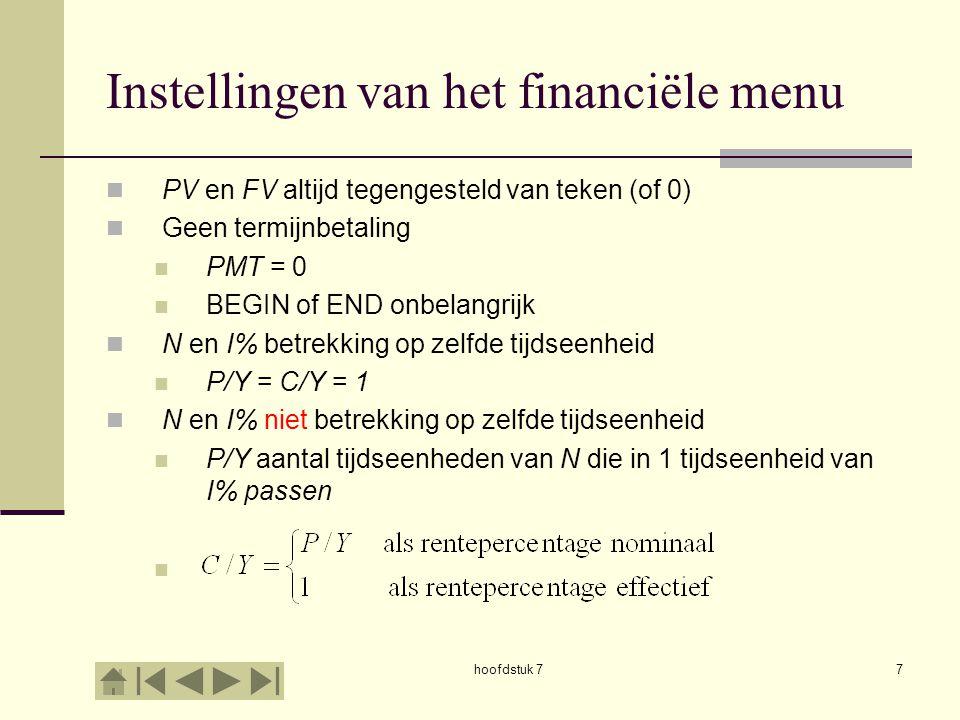 Instellingen van het financiële menu