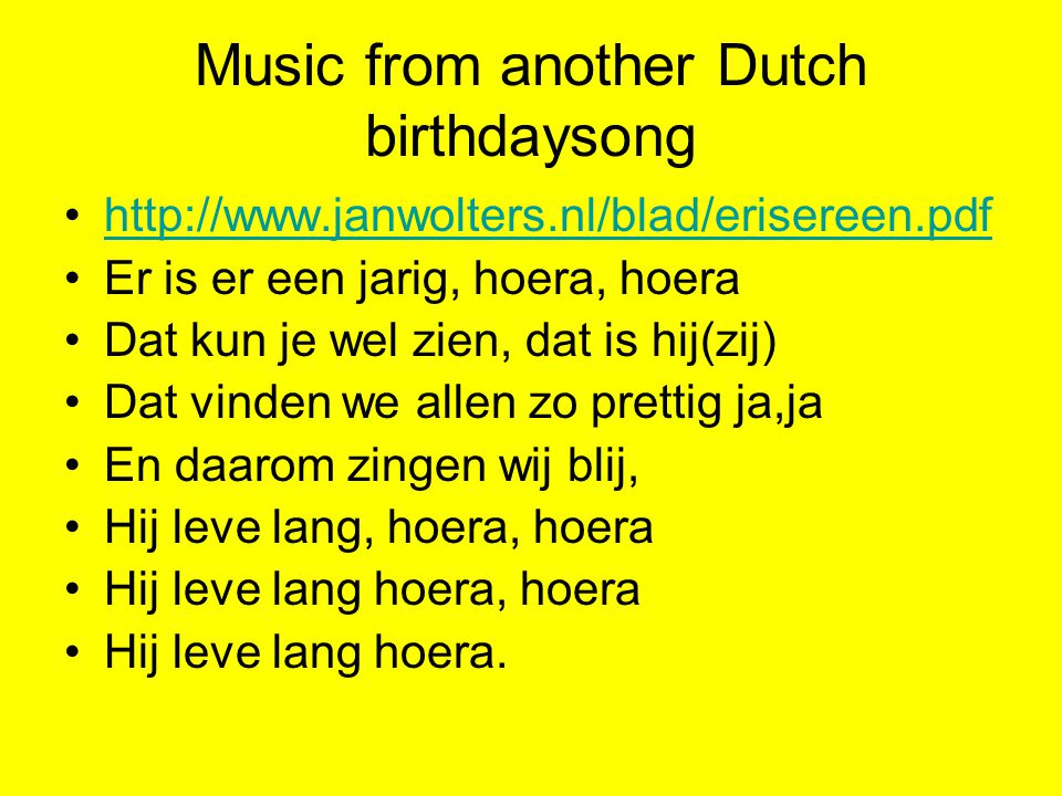Music from another Dutch birthdaysong
