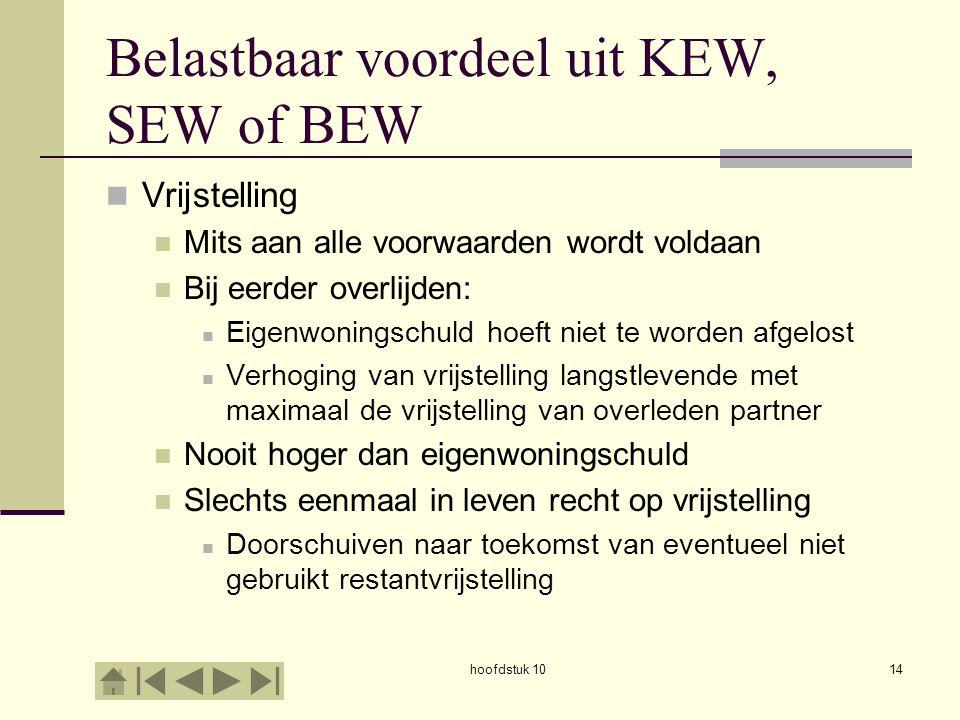 Belastbaar voordeel uit KEW, SEW of BEW