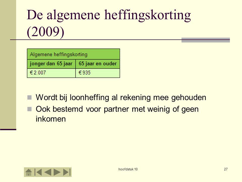De algemene heffingskorting (2009)