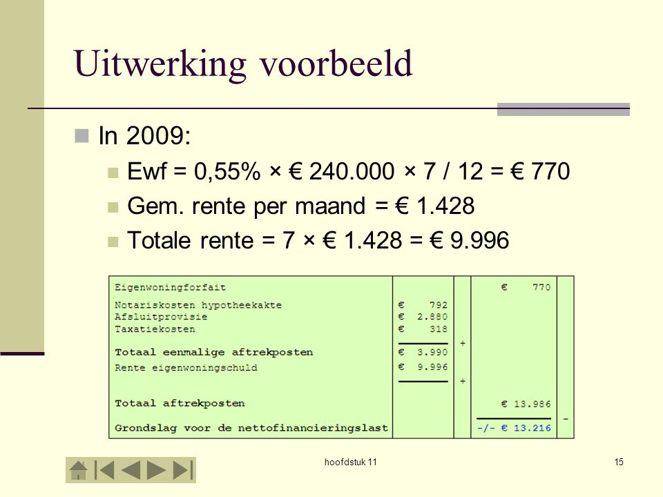 Uitwerking voorbeeld In 2009: Ewf = 0,55% × € 240.000 × 7 / 12 = € 770