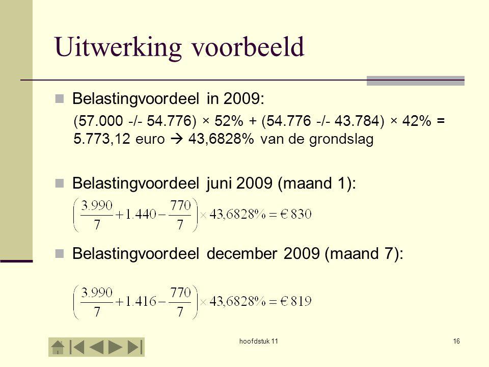 Uitwerking voorbeeld Belastingvoordeel in 2009: