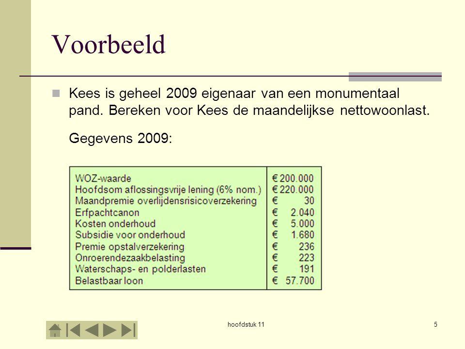 Voorbeeld Kees is geheel 2009 eigenaar van een monumentaal pand. Bereken voor Kees de maandelijkse nettowoonlast.