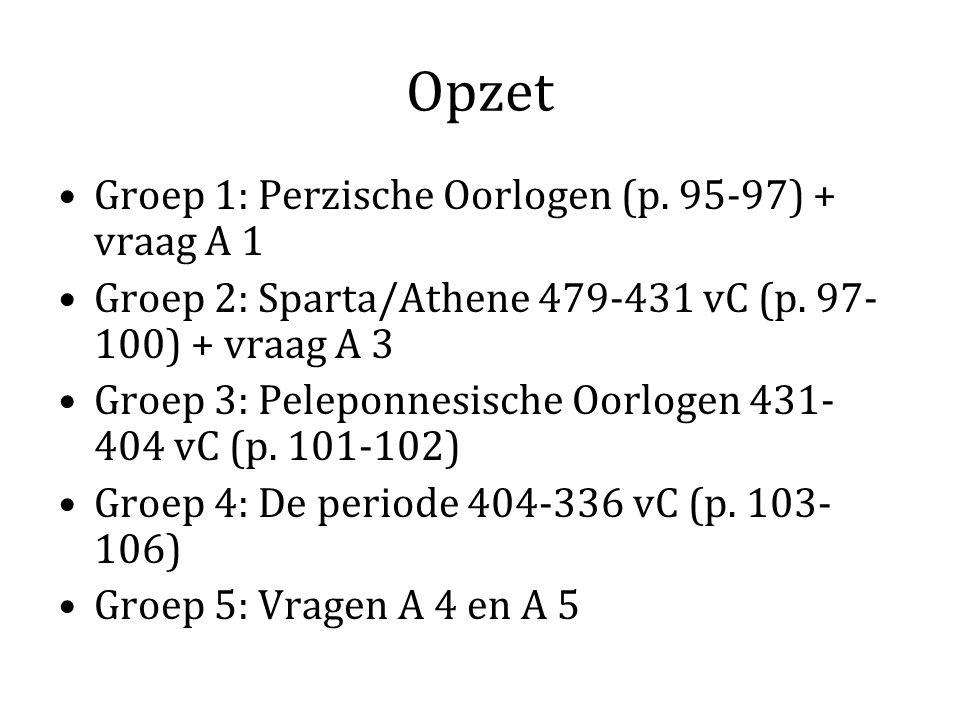Opzet Groep 1: Perzische Oorlogen (p. 95-97) + vraag A 1