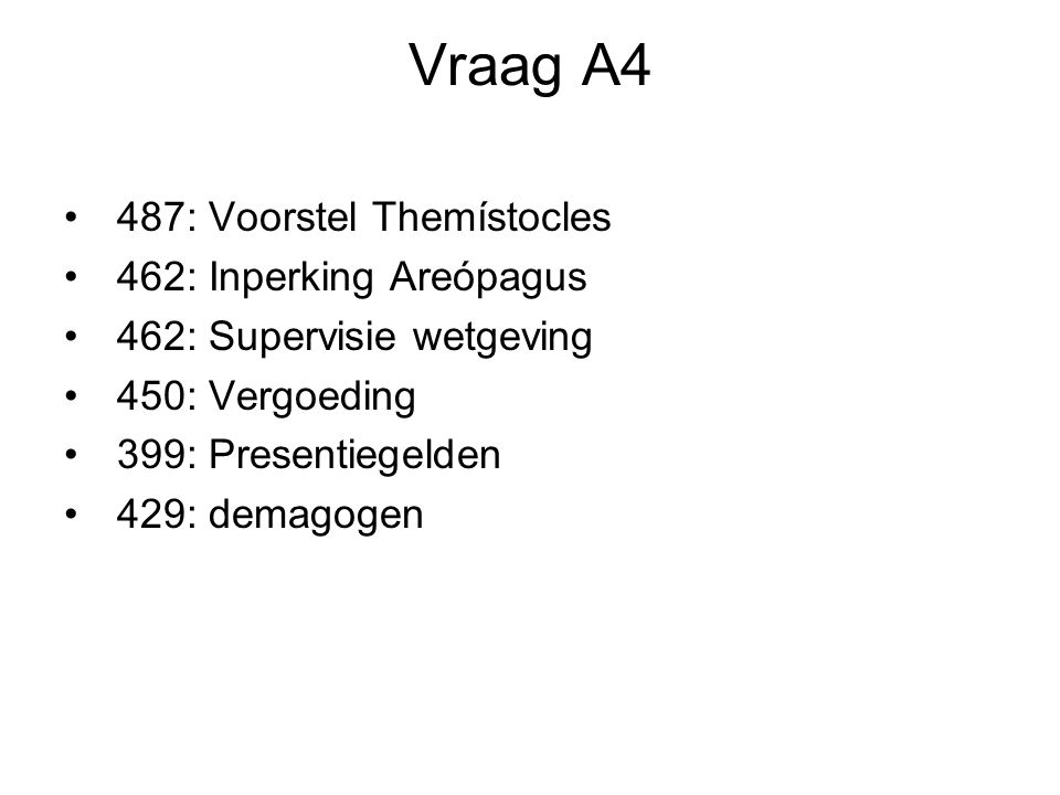 Vraag A4 487: Voorstel Themístocles 462: Inperking Areópagus