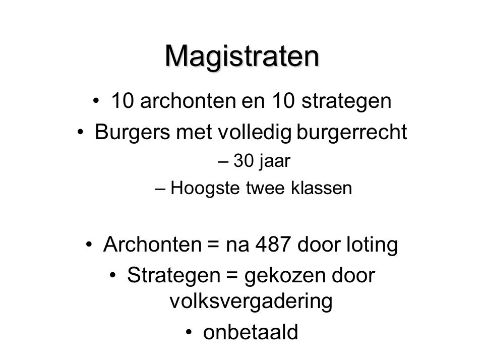 Magistraten 10 archonten en 10 strategen