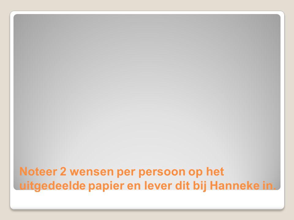 Noteer 2 wensen per persoon op het uitgedeelde papier en lever dit bij Hanneke in.