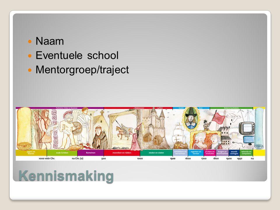 Naam Eventuele school Mentorgroep/traject Kennismaking
