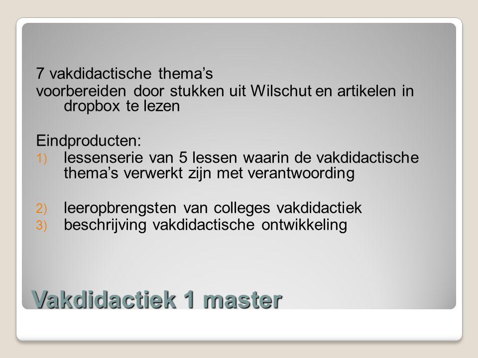 Vakdidactiek 1 master 7 vakdidactische thema's