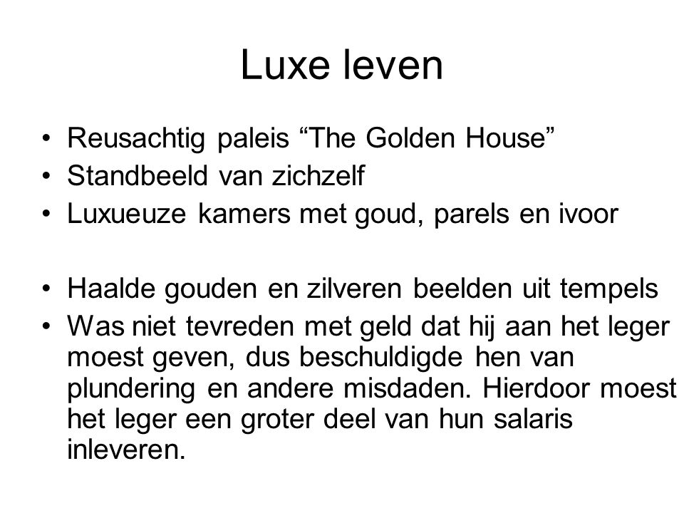 Luxe leven Reusachtig paleis The Golden House