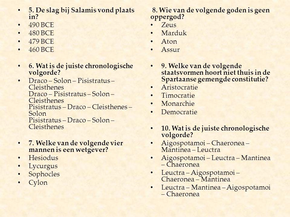 5. De slag bij Salamis vond plaats in