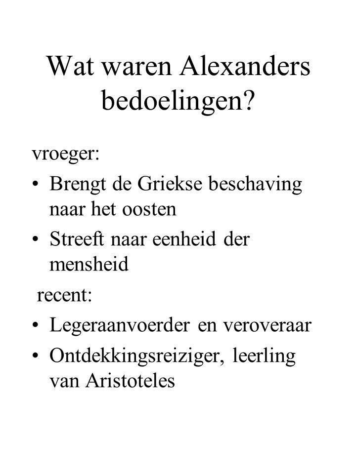 Wat waren Alexanders bedoelingen