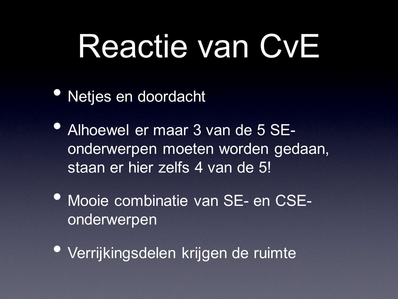 Reactie van CvE Netjes en doordacht