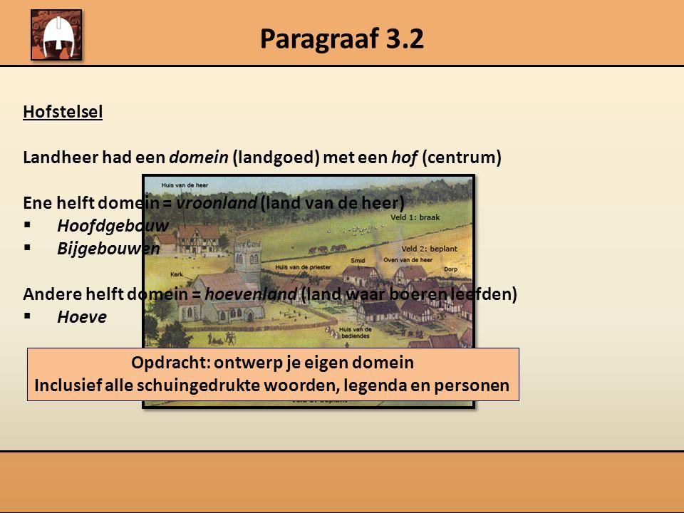 Paragraaf 3.2 Hofstelsel. Landheer had een domein (landgoed) met een hof (centrum) Ene helft domein = vroonland (land van de heer)
