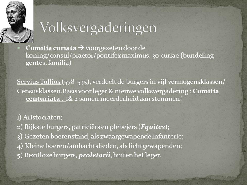Volksvergaderingen Comitia curiata  voorgezeten door de koning/consul/praetor/pontifex maximus. 30 curiae (bundeling gentes, familia)