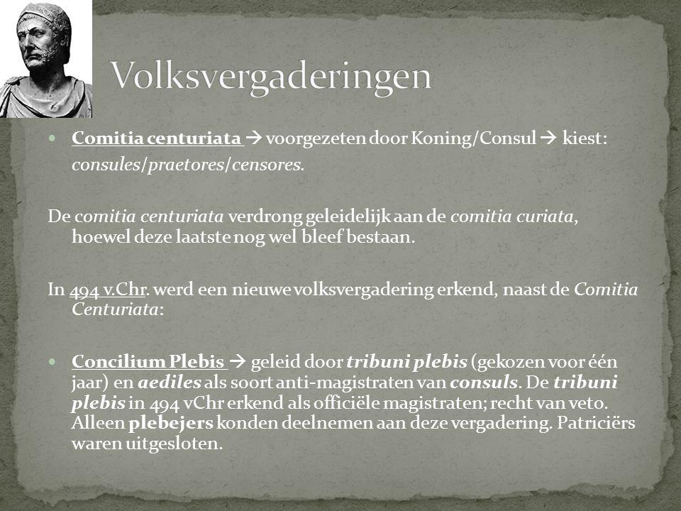 Volksvergaderingen Comitia centuriata  voorgezeten door Koning/Consul  kiest: consules/praetores/censores.