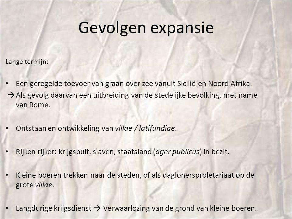 Gevolgen expansie Lange termijn: Een geregelde toevoer van graan over zee vanuit Sicilië en Noord Afrika.