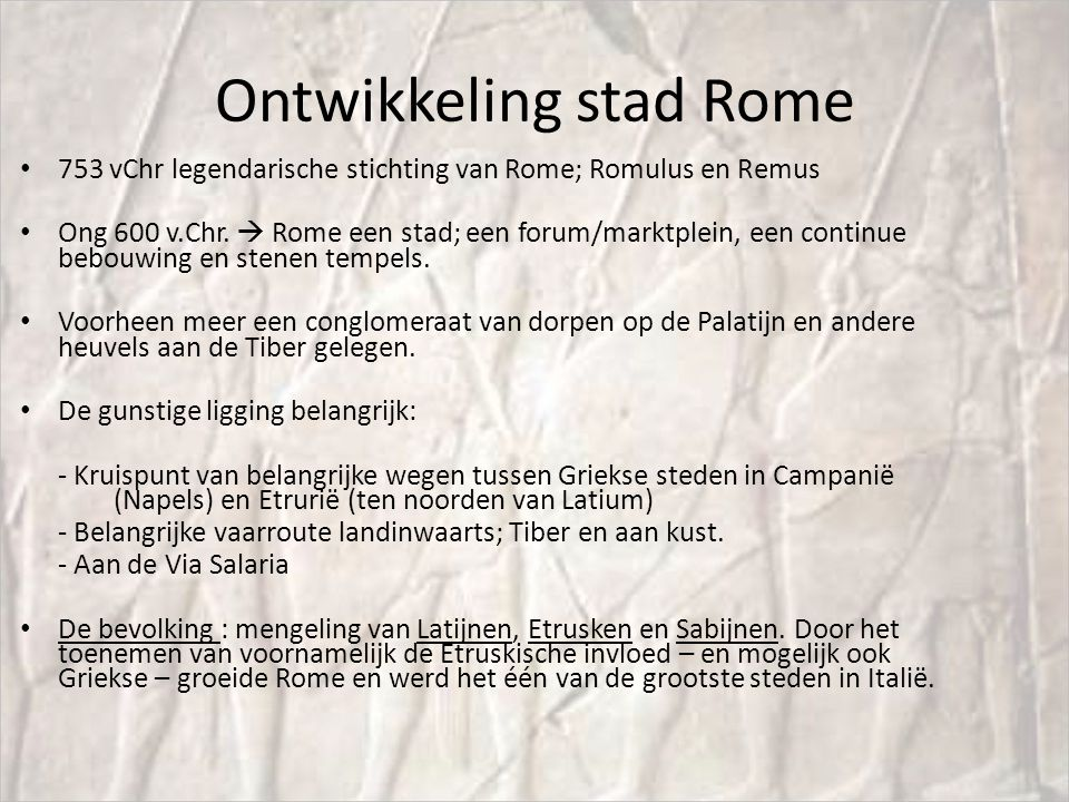 Ontwikkeling stad Rome