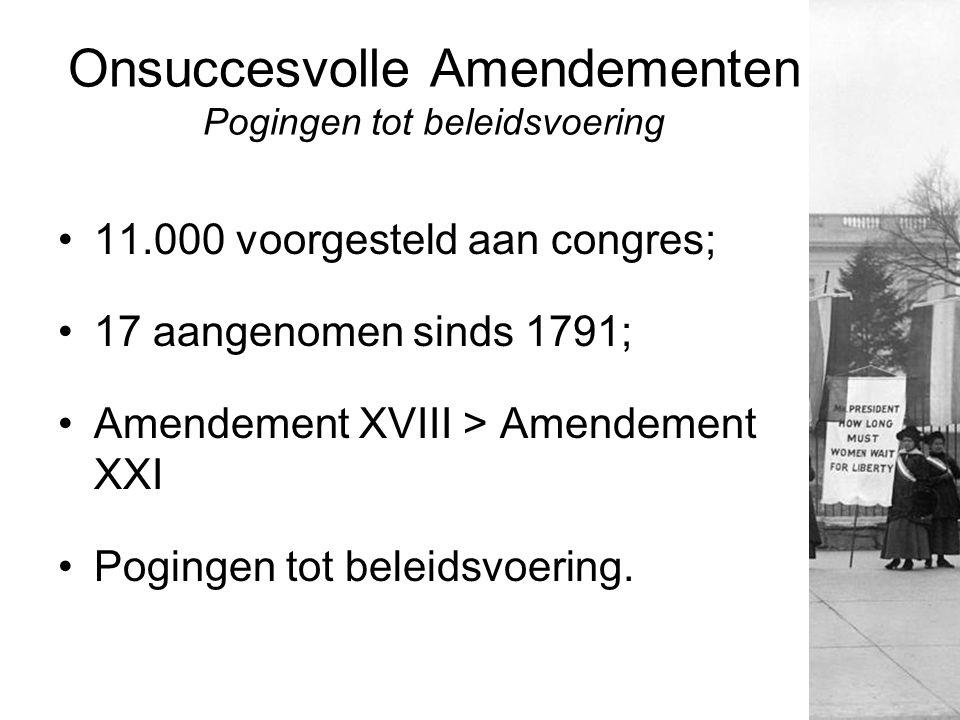 Onsuccesvolle Amendementen Pogingen tot beleidsvoering