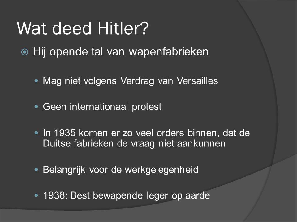 Wat deed Hitler Hij opende tal van wapenfabrieken
