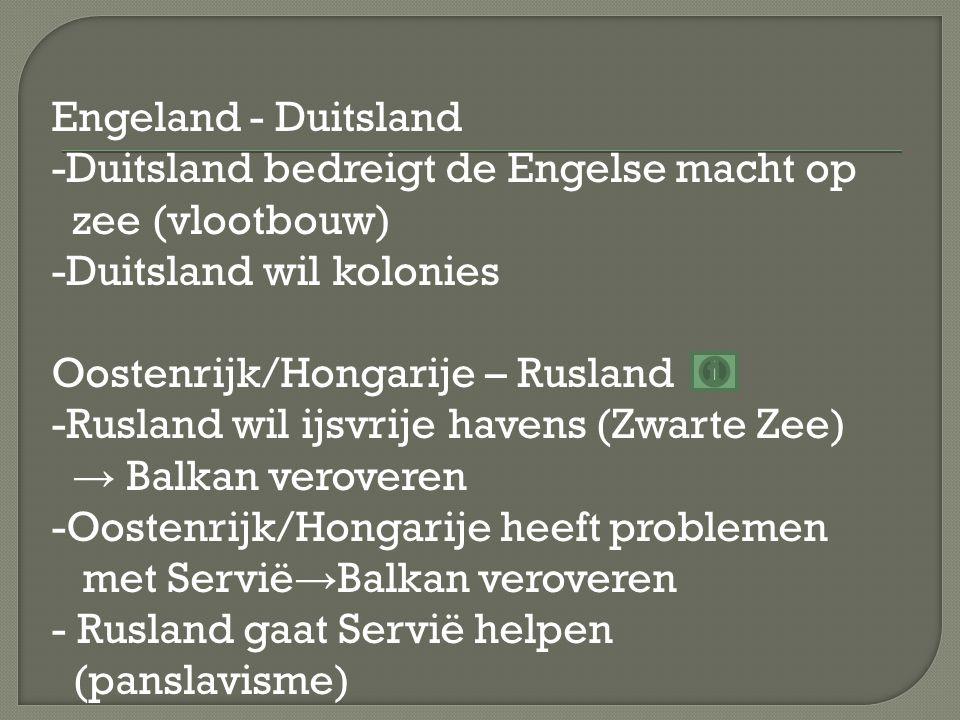 Engeland - Duitsland -Duitsland bedreigt de Engelse macht op zee (vlootbouw) -Duitsland wil kolonies Oostenrijk/Hongarije – Rusland -Rusland wil ijsvrije havens (Zwarte Zee) → Balkan veroveren -Oostenrijk/Hongarije heeft problemen met Servië→Balkan veroveren - Rusland gaat Servië helpen (panslavisme)