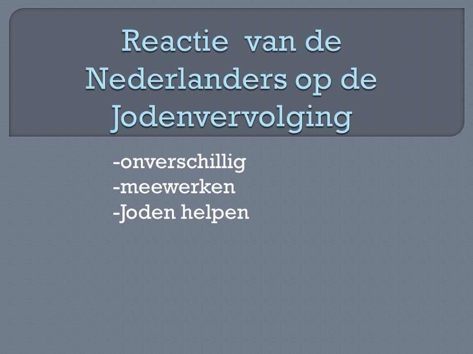 Reactie van de Nederlanders op de Jodenvervolging