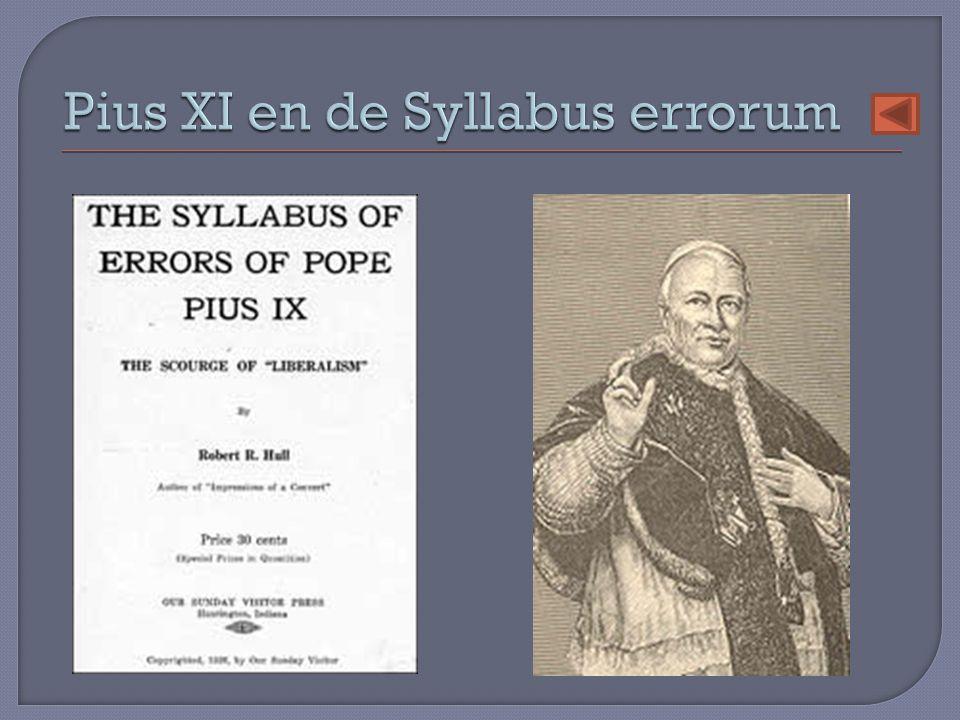 Pius XI en de Syllabus errorum