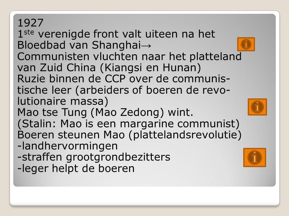 1927 1ste verenigde front valt uiteen na het Bloedbad van Shanghai→ Communisten vluchten naar het platteland van Zuid China (Kiangsi en Hunan) Ruzie binnen de CCP over de communis- tische leer (arbeiders of boeren de revo- lutionaire massa) Mao tse Tung (Mao Zedong) wint.