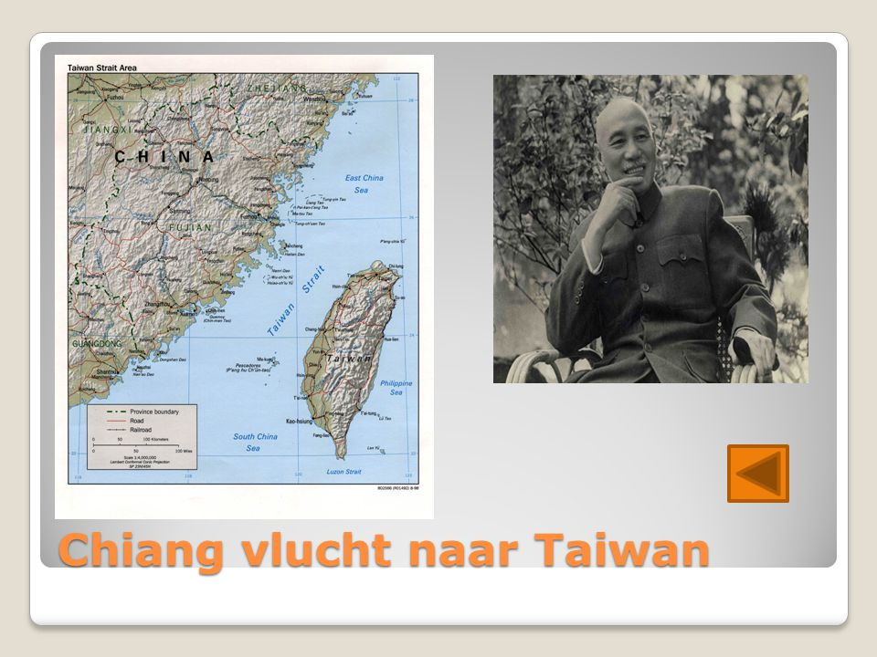 Chiang vlucht naar Taiwan