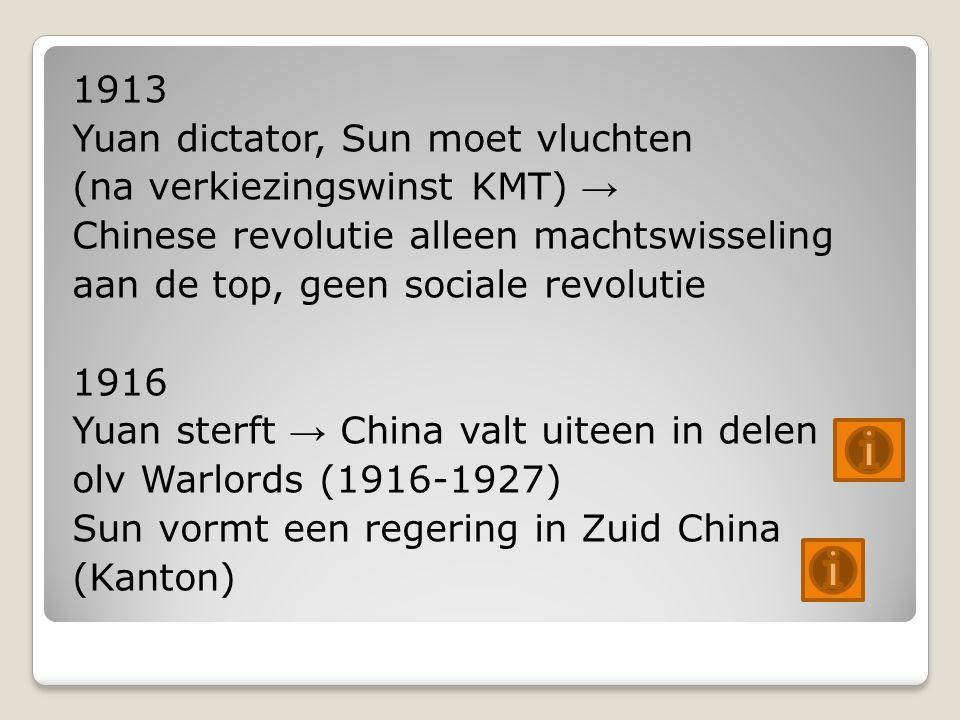 1913 Yuan dictator, Sun moet vluchten (na verkiezingswinst KMT) → Chinese revolutie alleen machtswisseling aan de top, geen sociale revolutie 1916 Yuan sterft → China valt uiteen in delen olv Warlords (1916-1927) Sun vormt een regering in Zuid China (Kanton)