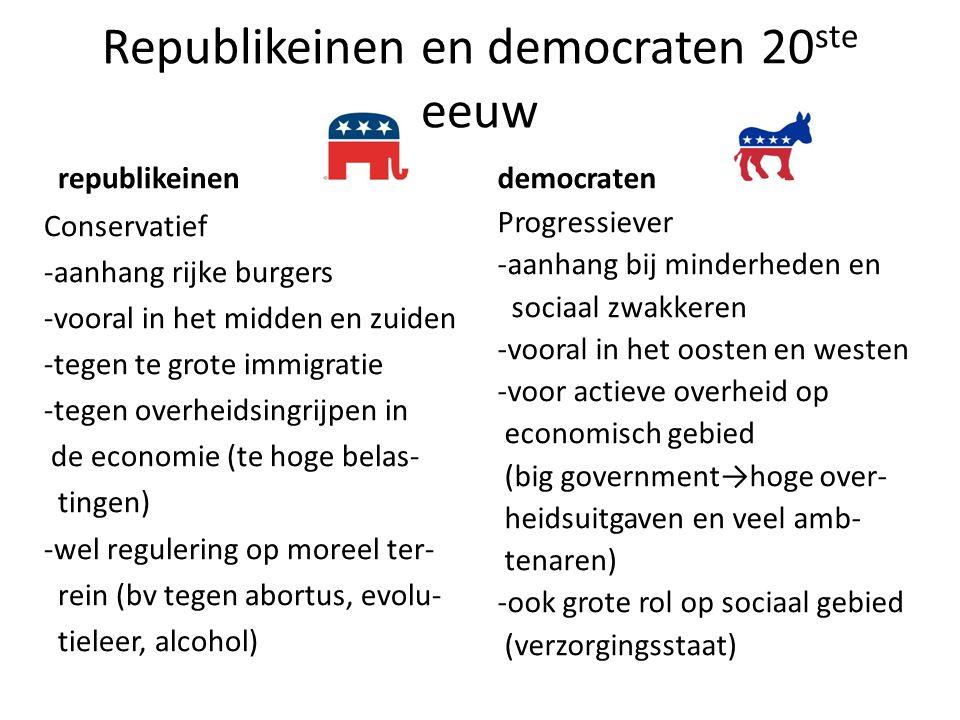 Republikeinen en democraten 20ste eeuw