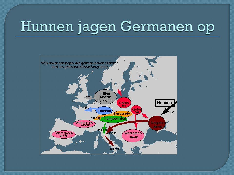 Hunnen jagen Germanen op