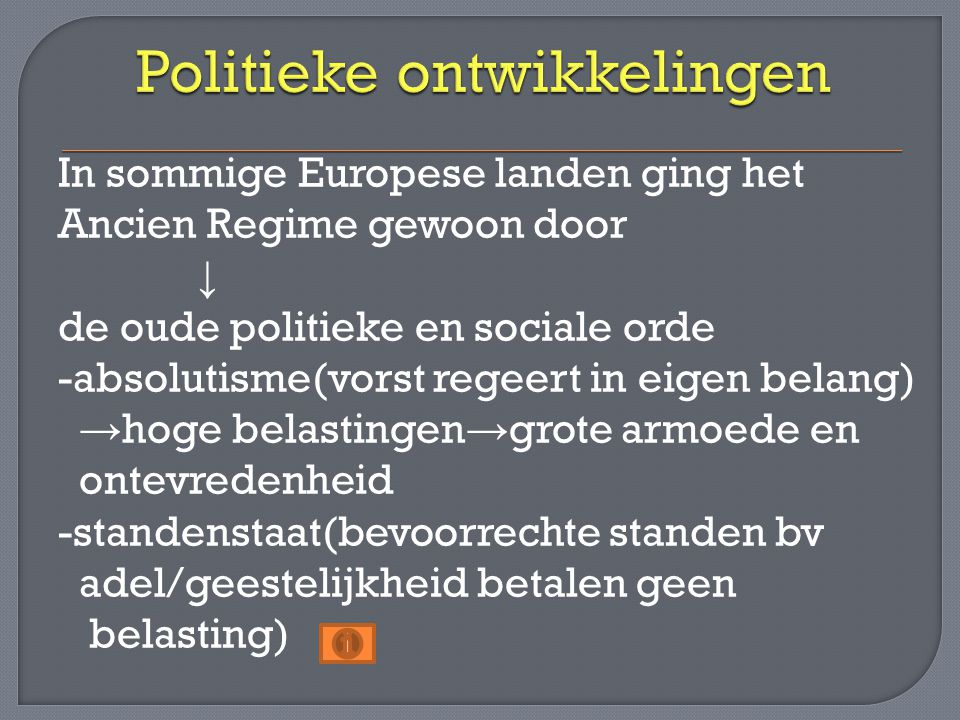 Politieke ontwikkelingen