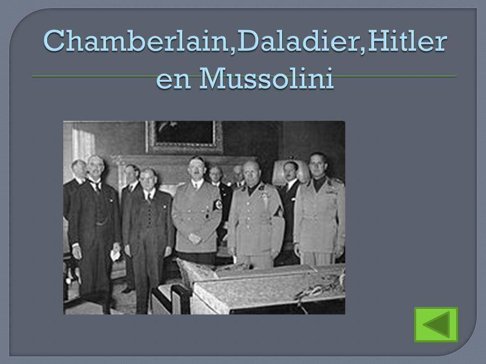 Chamberlain,Daladier,Hitler en Mussolini